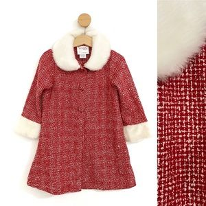 Dollie & Me Toddler Red and White Tweed Coat Fur